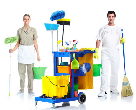 man and woman with mop and broom