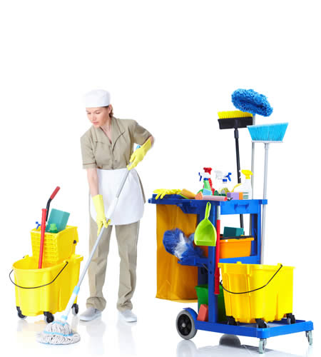 cleaning lady with supply cart