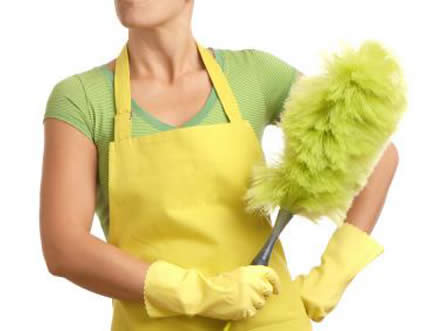 woman with feather duster