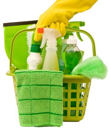 basket of house cleaning supplies
