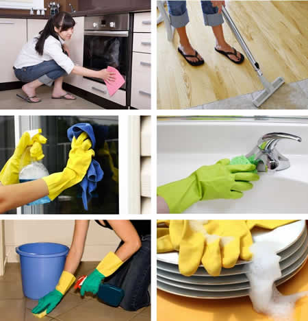 group of photos depicting various house cleaning tasks
